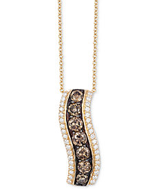 "Le Vian Chocolatier® Diamond Curve 18"" Pendant Necklace (9/10 ct. t.w.) in 14k Gold"