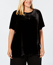 Eileen Fisher Plus Size Velvet Short-Sleeve Top