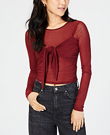 Material Girl Juniors' Sheer Tie-Front Crop Top, Created for Macy's