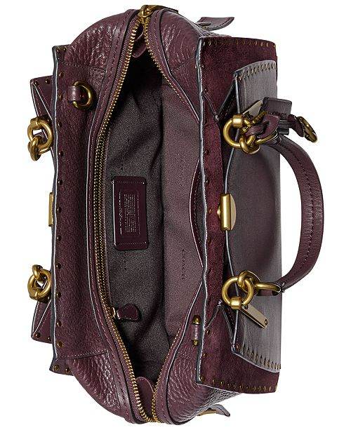 Coach Border Rivets Mixed Leather Dreamer Satchel Handbags Accessories Macy S
