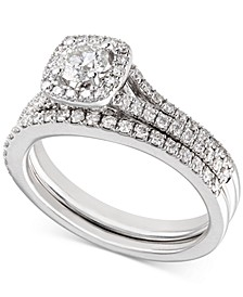 Certified Diamond Engagement Ring and Wedding Band Bridal Set (1 ct. t.w.) in 18k White Gold, Created for Macy's