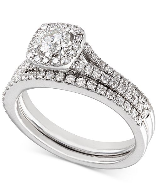 X3 Certified Diamond Engagement Ring and Wedding Band Bridal Set (1 ct. t.w.) in 18k White Gold, Created for Macy's