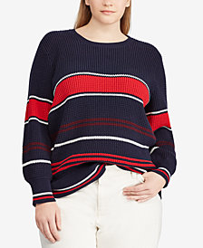 Lauren Ralph Lauren Plus Size Flared-Sleeve Cotton Sweater
