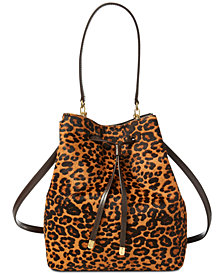 Lauren Ralph Lauren Calf Hair Leopard Debby Drawstring Bag