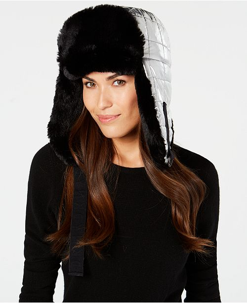 b4d2dcbe88dbf DKNY Quilted Puffer Faux-Fur Trapper Hat