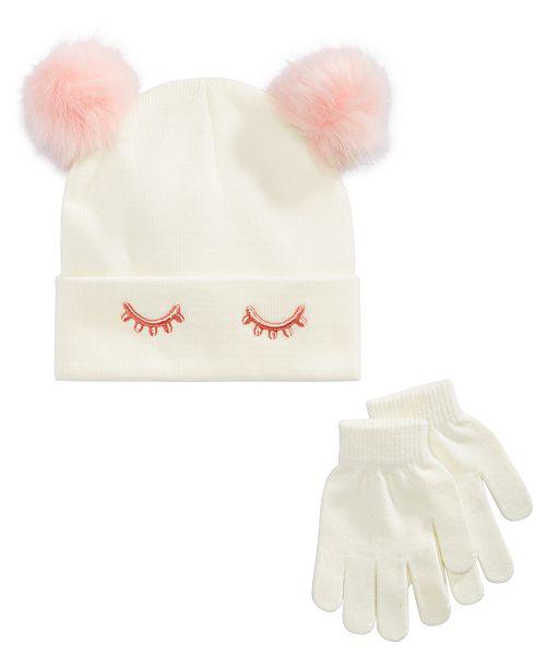9ee6fbb0038 Berkshire Little   Big Girls 2-Pc. Sleeping Eye Hat   Gloves Set ...