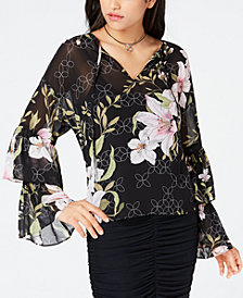 GUESS Serasota Printed Ruffle-Sleeve Top