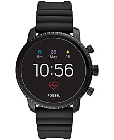 Fossil New Q Men's Explorist Gen 4 HR Black Silicone Strap Touchscreen Smart Watch 45mm