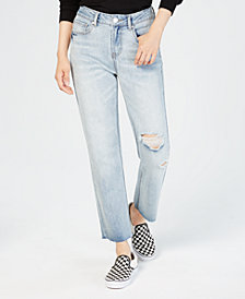 Indigo Rein Juniors' Rigid Ripped Straight-Leg Jeans