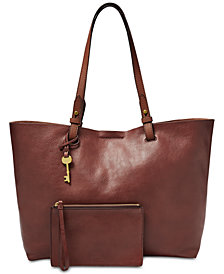 Fossil Rachel Pebble Leather Tote with Pouch