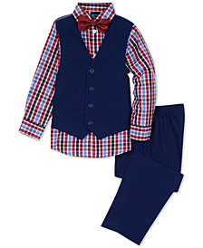 Nautica Little Boys 4-Pc. Check-Print Shirt, Vest, Pants & Bowtie Set