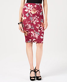 Thalia Sodi Antonella Floral-Print Scuba Skirt, Created for Macy's