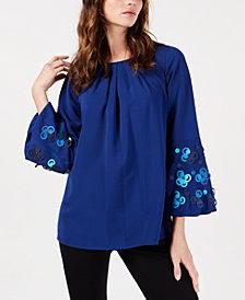 Alfani Appliqué Bell-Sleeve Blouse, Created for Macy's
