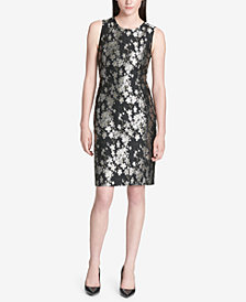 Calvin Klein Metallic Jacquard Sheath Dress