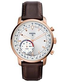 Men's Tech Goodwin Brown Leather Strap Hybrid Smart Watch 44mm