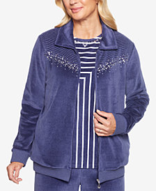 Alfred Dunner Petite Comfortable Situation Embellished Velour Jacket