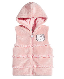 Hello Kittly Little Girls Ruffle Trim Faux Fur Hooded Vest