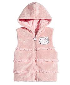 Hello Kittly Little Girls Ruffle Trim Faux Fur Hooded Vest