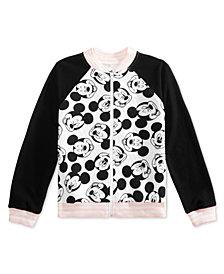 Disney Big Girls Mickey Face Full-Zip Bomber Jacket