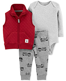 Carter's Baby Boys 3-Pc. Quilted Vest, Bodysuit & Jogger Pants Set