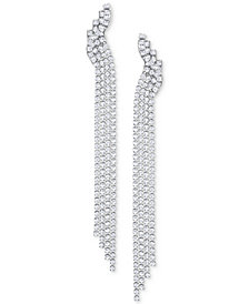 Swarovski Silver-Tone Crystal Mesh Fringe Drop Earrings