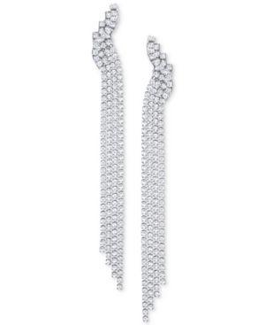 SWAROVSKI Silver-Tone Crystal Mesh Fringe Drop Earrings in White