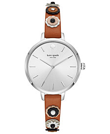 kate spade new york Women's Metro Brown Leather Strap Watch 34mm
