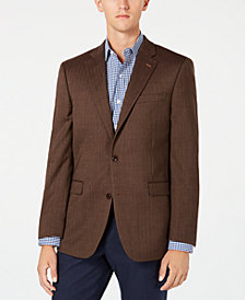 Tommy Hilfiger Men's Modern-Fit TH Flex Stretch Brown Herringbone Sport Coat