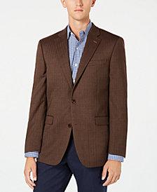 Tommy Hilfiger Men's Modern-Fit TH Flex Stretch Brown Herringbone Sport Coat