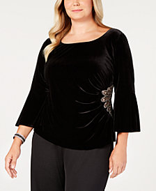 Alex Evenings Plus Size Velvet Embellished Top