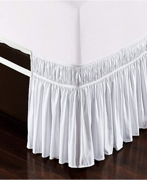 De Moocci Wrap Around Bed Skirt, Elastic Dust Ruffle Easy Fit, Wrinkle and Fade Resistant