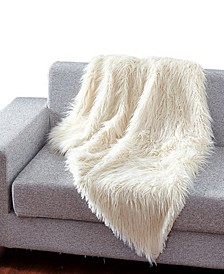 Faux Fur Throw Blanket, Super Soft Mongolian Fuzzy Light Weight Luxurious Cozy - 50 x 60