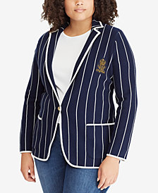 Lauren Ralph Lauren Plus Size Striped Stretch Blazer