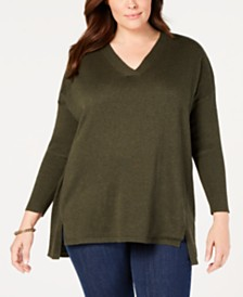 3351d839401 Style   Co Plus Size High-low Over-sized Tunic Sweater