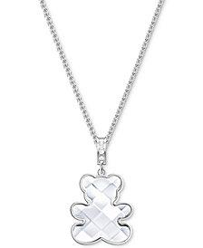 "Swarovski Silver-Tone Crystal Teddy Bear Pendant Necklace, 14-4/5"" + 3"" extender"
