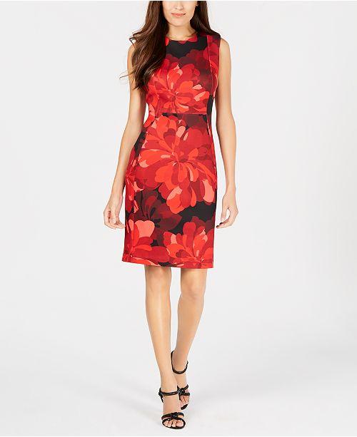 e9bd481a Calvin Klein Petite Floral-Print Sheath Dress & Reviews - Dresses ...