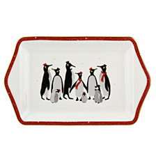 "Sara Miller Red Penguin 12"" Dessert Tray"