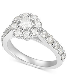 Diamond Flower Engagement Ring (2 ct t.w.) in 14k White Gold