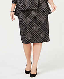 Alfani Plus Size Jacquard Straight Skirt, Created for Macy's