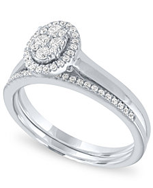 Diamond Oval Halo Cluster Bridal Set (1/3 ct. t.w.) in 14k White Gold