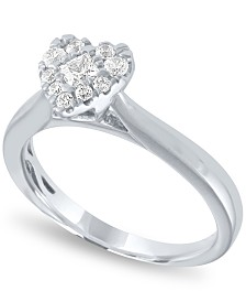 Diamond Heart Halo Ring (1/3 ct. t.w.) in 14k White Gold