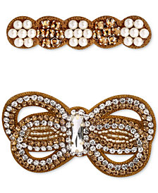 Deepa Two-Tone 2-Pc. Set Crystal & Imitation Pearl Hair Accessories