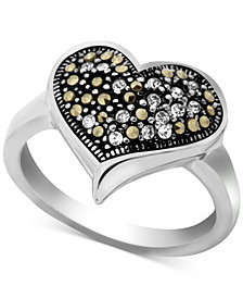 Marcasite & Crystal Heart Ring in Fine Silver-Plate
