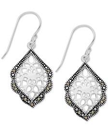 Marcasite Filigree Drop Earrings in Fine Silver-Plate