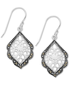 Marcasite Filigree Drop Earrings in Fine Silver-Plate