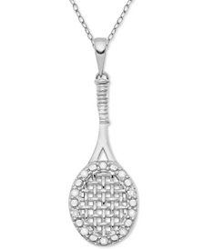 "Diamond Tennis Racket 18"" Pendant Necklace (1/10 ct. t.w.) in Sterling Silver"