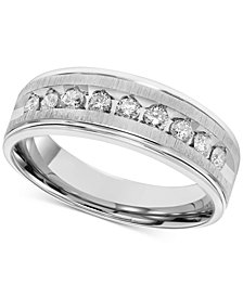Men's Diamond Brushed Band (1/2 ct. t.w.) in 14k White Gold