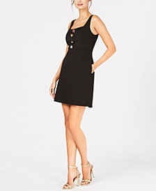 Adrianna Papell Decorative-Button A-Line Dress