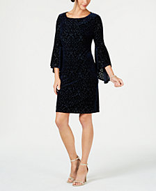 Jessica Howard Petite Flocked Velvet Shift Dress