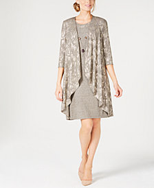 R & M Richards Petite Metallic Jacket Dress & Necklace